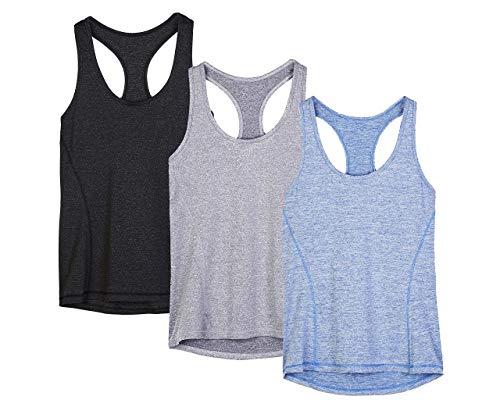 icyzone® Damen Funktions-Tanktop Sporttop Unterhemd Stretch fuer Yoga Fittness training Damen Tanktop Racerback ,Black/Granite/Blue,L