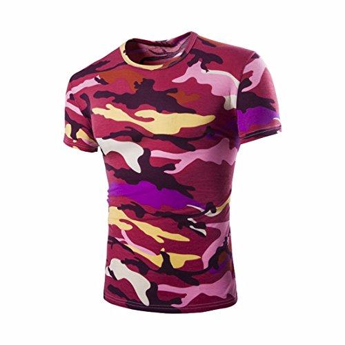 QIYUN.Z Männer Tarnung Kurze Hülse/Ärmel Hipster Camo T-Shirt Turnhalle Muskel-Shirts Rot Tarnung