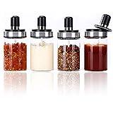 Femora Borosilicate Glass Food Storage Jars Pickle Jar with Spoon 250ML-Set of 4