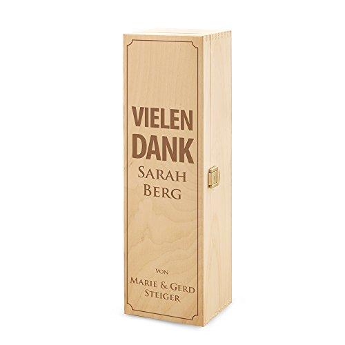 "Weinbox aus Holz "" Vielen Dank "" - Personalisiert mit Namen - Echtholz - Geschenkidee - Danksagung - 37,5 cm x 11 cm x 10 cm"