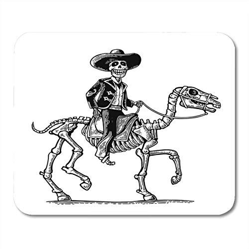 Nationalen Männer Kostüm - Luancrop Mauspads Der Reiter in den mexikanischen Mann-nationalen Kostümen galoppierend auf Skeleton Pferd Dia De Los Muertos Weinlese Mousepad für Laptop, Tischrechner-Bürozubehöre Mauspads