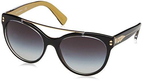 Dolce & gabbana 0dg4280, occhiali da sole donna, multicolore (top black on gold), 62
