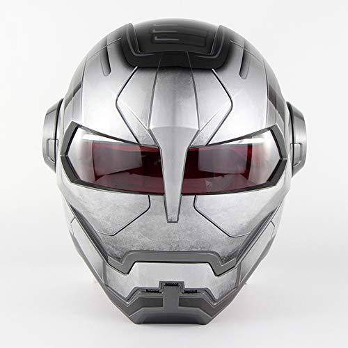 D. O. T Casco Certificato Moto Motocross Full Face Casco Moto Flip Aperto Maschera Casco, Iron Man Trasformatori-M, L, XL,Gray,M