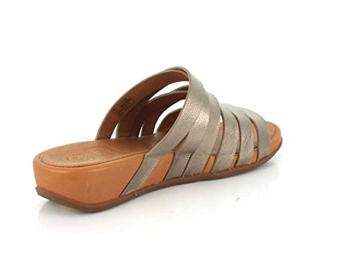 FitFlop Lumy Leather Slide Sandals Bronze