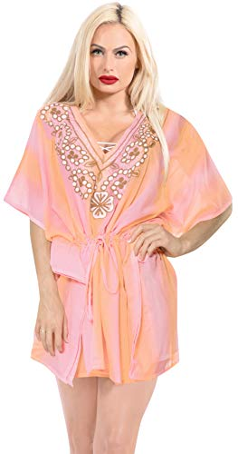 LA LEELA Frauen bestickte Bademode Bikinibadebekleidung Badeanzug Aloha coevr bis Rosa -