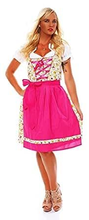 10589 Fashion4Young Damen Dirndl 3 tlg.Trachtenkleid Kleid Mini Bluse Schürze Trachten Oktoberfest (34, Gelb Pink)