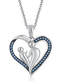 Silvernshine 9K White Gold FN Aquamarine Sim Diamond Accent Mother & Child Heart Pendant Necklace