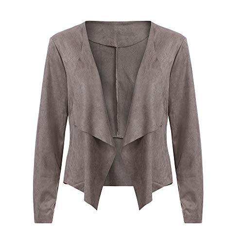 Winter Bequem Mantel Lässig Mode Jacke Frauen Langarm Leder Open Front Kurze Strickjacke Anzugjacke Arbeitsamt Mantel ()