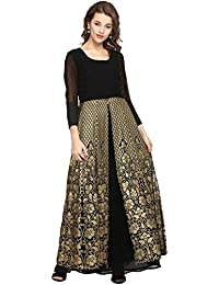 AHALYAA Women's 3/4th Sleeve and Round Neck Georgette Kurti