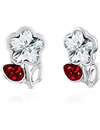 Mahi Valentine Rhodium Plated Red Drop And White Floral Earrings Made With Swarovski Elements For Women ER1194115RWhiRed