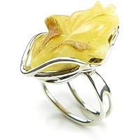 ROSE-Anello intagliato a mano, in vera ambra del Baltico, colore:
