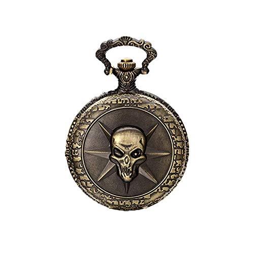 JewelryWe Damen Herren Taschenuhr Gotik Schädel Totenkopf Uhranhänger Quartz Legierung Kettenuhr Uhr Halskette Farbe Bronze