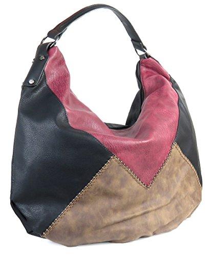 Lovely Lauri Vintage Hobo Tasche XXL Handtasche Beuteltasche Patchwork Ziernaht Schwarz (Hobo Patchwork Handtasche)