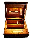 The Rolling Box Sapeli 260; beleuchteter Humidor/Holzkiste, Drehkiste mit Licht, Jointbox mit LED