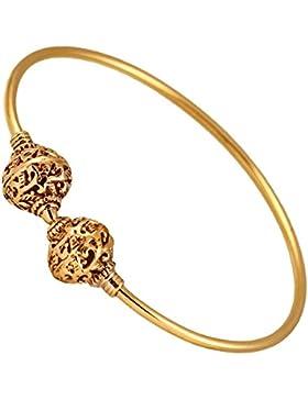 Messing Armreif antik golden rund Verschluss Kugeln Verziert verstellbarTribal Schmuck