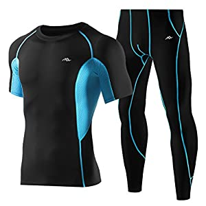 TRYSIL Herren Kompressionsstrumpfhose Leggings Workout Fitness Baselayer Hohe Elastische Shirts Pack TRYSIL