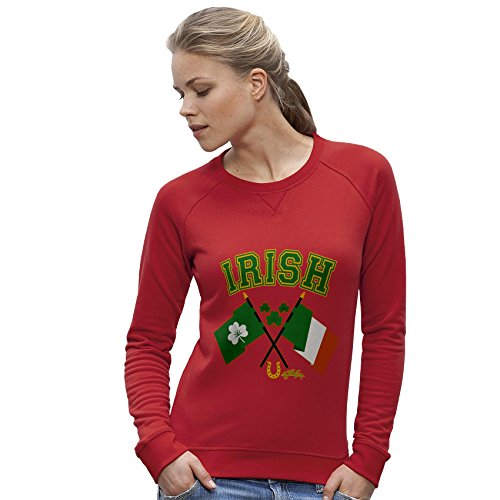 TWISTED ENVY Damen das Sweatshirt Irish Flag St Patricks Day Print X-Large Rot (Flag Sweatshirt Irish)