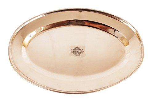 "Indian Art Villa IndianArtVilla 12.0"" X 8.0"" Steel Copper Serveware Oval Serving Plate for Dinner Restaurant Hotel Home Kitchen Dinning Ware Gift item"