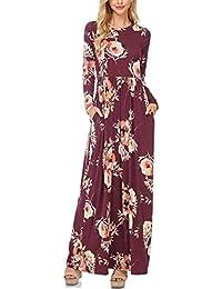 d8ecdd41620 Winfon Femme Robe Longue Manche Longue Boheme Imprimé Fleurie Hiver Fluide Chic  Robe de Soirée Cocktail