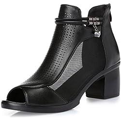 Damen Peep Toe Pumps Stiletto Riemchen Sohle Spitze und Reißverschluss high-heel Sandalen