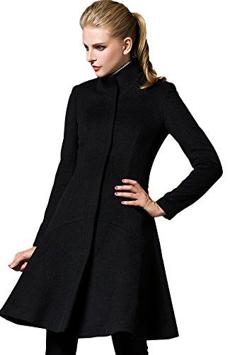 La Vogue-Cappotto Slim Fit da Donna Cappotto Lungo Busto 86cm Nero