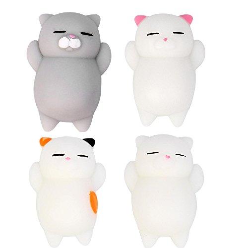 4 Stück Squishys Squishies Katze , Squeeze Spielzeug , Yogogo 1 Cent Artikel Exquisite Kawaii | Weihnachten | Duft Langsam Steigende Spielzeug | Handy Zubehör Dekoration | Tasche Dekoration | Geschenk (4cm Katze)