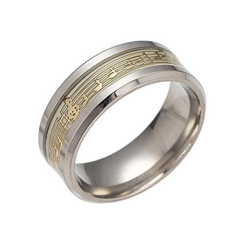 Diadia ❤️ Ring im Punk-Stil, leuchtet im Dunkeln, mit leuchtenden Noten, Persönlichkeitsring, Cosplay, Kostüm-Requisite, gold, 9 US