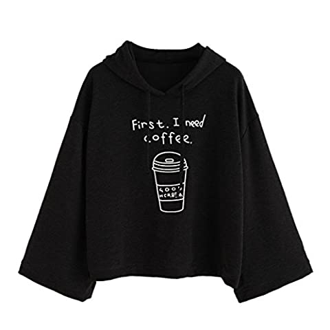 Tonsee Femmes à manches longues Lettre Impression -First I Need Coffee- Sweat à capuche Pullovers (S, Noir)