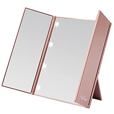 Miss Sweet Lighted Trifold Mirror for Beauty Makeup Travel Mirror Compact - low-cost UK light shop.