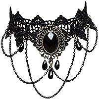 Collar de la decoración del cordón del collar de la cadena del suéter Cadena gótica de la vendimia de la cadena collar de perlas fiesta de Halloween para la ...
