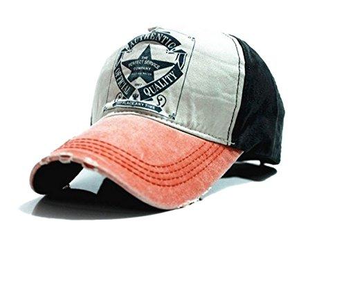 Unisex Baumwolle Baseball Cap Star Sport Mütze Baseballkappe Snap back Trucker ( Orange peak)