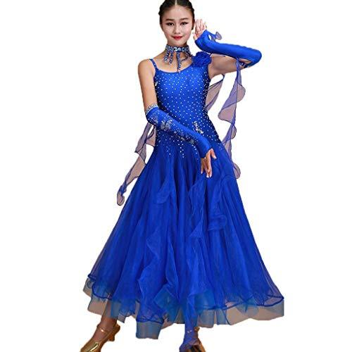 LRR Frauen Ballroom Dance Competition Dress , Moderne Glatte Walzer Tango Performance Dance Strass Kostüme (Farbe : Royal Blue, größe : ()