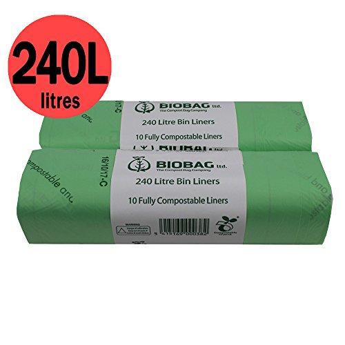 Sacchetti per immondizia compostabili, da 240 l, 20 pezzi, certificati EN 13432, guida al compostaggio inclusa [lingua italiana non garantita]