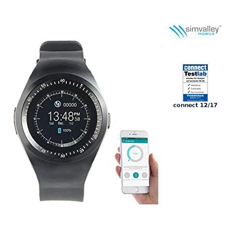 simvalley MOBILE Smartwatch mit SIM: 2in1-Uhren-Handy & Smartwatch für iOS & Android, rundes Display (Fitness Armbänder)