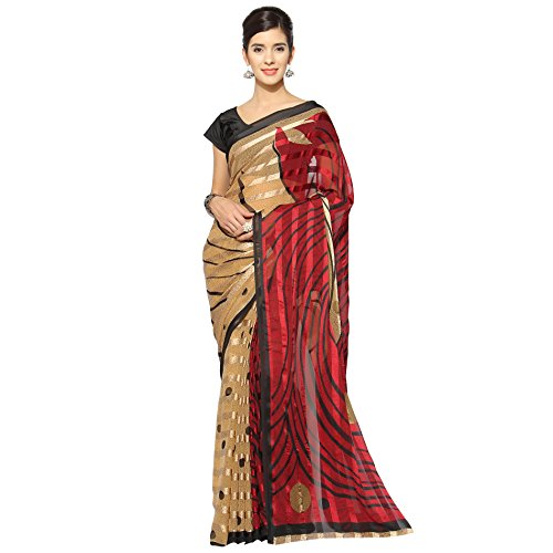Florence Beige & Maroon Chiffon Printed Saree with Blouse  available at amazon for Rs.729