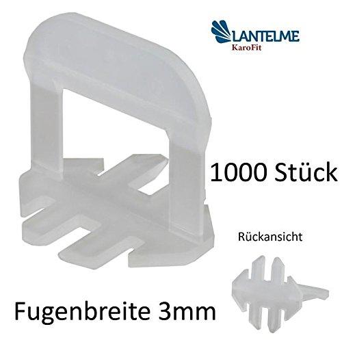 Lantelme 1000 Stück Fliesenverlegehilfe 3mm Standard Zuglaschen für Fugenbreite 3mm zur Boden oder Wandmontage Fliesen - Nivelliersystem - Verlegesystem - Verlegehilfe