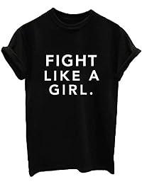 BLACKMYTH Mujer Casual Camisetas para Estampar Redondo Graphic Tees Manga Corta Señoras T-Shirt