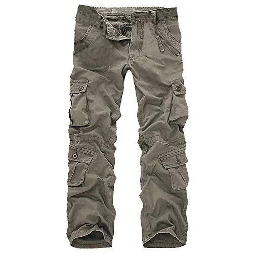 ZIYOU Herren Latzhose mit Mehrere Taschen, Männer Cargo Chino Hosen Ohne Gürtel Outdoor Regular fit Pants Sweatpants(Grün,34) -