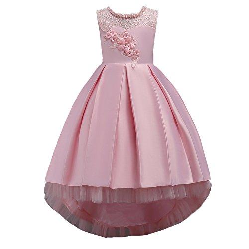 Wulide Kinder Mädchen Abendkleid Prinzessin Kleid Festkleid mit Blumen, Pink,...