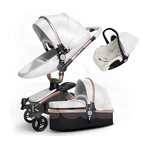 HXPH 3-en-1Baby Cochecito Alto Paisaje Plegable Coche de bebé de Choque bidireccional Puede Sentarse y Poner Carro de luz Blanco...