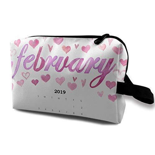 n-Kalender Februar 2019 Reise-tragbarer Make-upbeutel-Reißverschluss-Geldbörsen-Aufhängetasche ()