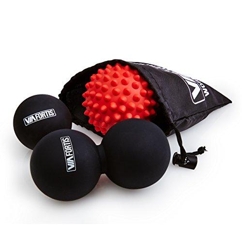 VIA FORTIS Premium Massageball Set: Faszien-Ball, Duo-Ball und Igel-Ball zur Selbstmassage und Behandlung des Bindegewebes – 3 Massagebälle mit praktischer Tasche