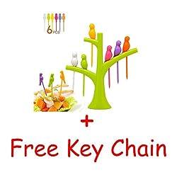 Bright Birds Fruit fork Set (Color may Vary) + Free Key Chain -AZ5044