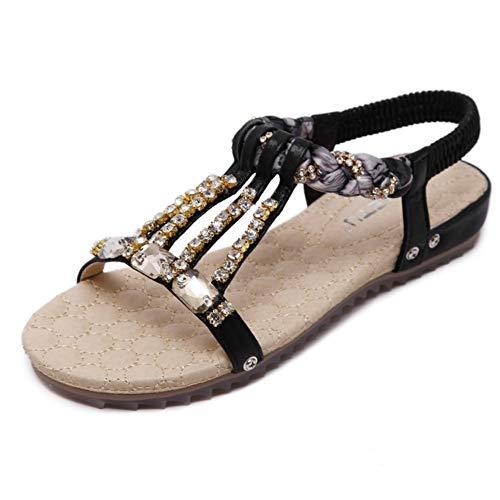 Sandali piatti con strass perline con strass e bohemien (colore : nero, dimensione : 39 1/3 eu)