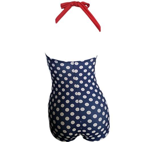 Missyhot Damen Retro Bademode 50s 60s Polka Dots Einteiler Rockablily Schwimmenanzug mit Punkten Monokini Bikini Neckholder Badeanzug Hohe Taille Dunkelblau