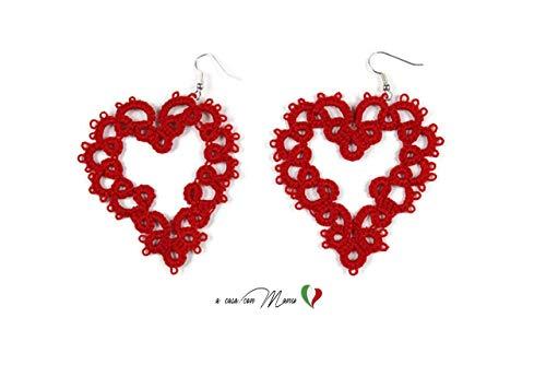 Romantische Ohrringe in roter Herzform aus Occhi-Spitze, sehr leicht und praktisch zu tragen, Made in Italy