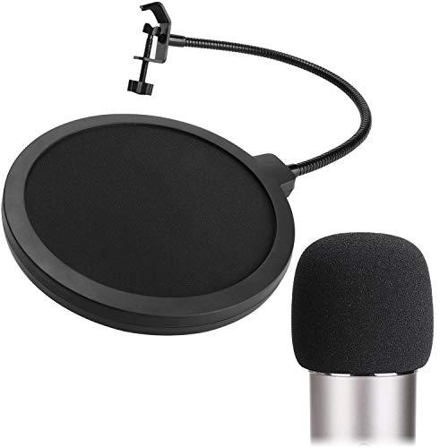 PEYOU[2 Stück] 6 Zoll Mikrofon Popschutz und Schaum Mikrofon Windschutz, Studio Mikrofon Absorber Runde Form Wind pop Filter Maske Schild mit Stand Clip (schwarzer Filter), Kompatibel mit Blue Yeti -