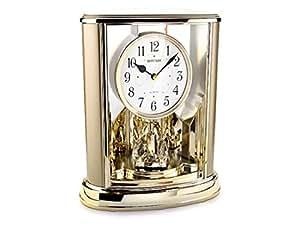 Rhythm Anniversary Style Black Arabic Numerals Mantel Clock With Crystals