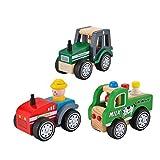 KIDS TOYLAND Pre-Kindergarten Spielzeug Bauernhof Fahrzeuge für Kinder Holz Spielzueg Set Grün Traktor + Milchauto + Rot Traktor (3 Holzautos)