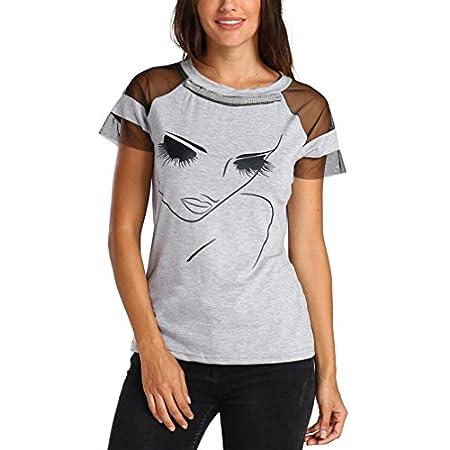 Damen Tops SUCES Sexy Sommertops Drucken Schulter Hollow Out Strandtops Schräghals Elegant Bluse Schlankheits T Shirt…